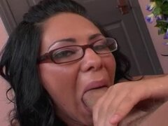 Messy Facial For Chick With Glasses.