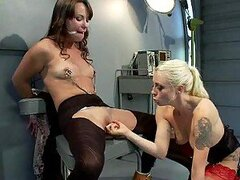 Kinky Blonde Opening Her Lesbian Sex Slave's Asshole with Hands and Toys