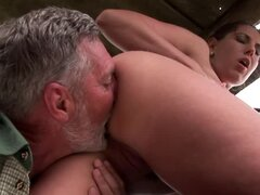 Amazing outdoor sex video with sexy Orsay and old man