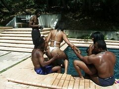 Ebony babes attend to a fucking pool party