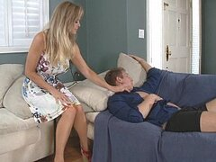 A stunningly hot blonde mom wakes her son's friend up and shags him silly