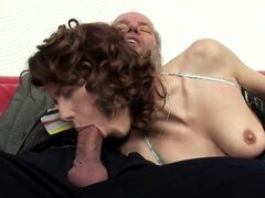 This horny redhead knows how to pleasure her man even if the man is about 70 has ass hole...