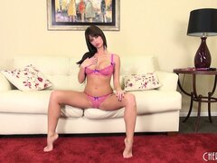 Brunette hottie Emily Addison goes live and gives you a striptease