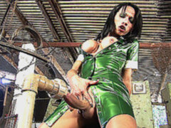 Nasty shemale entertains herself by poking her cock in a fucking machine