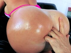 Brazzers - HOT blond with a perfect ass is oiled up for anal