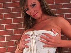 Milf with big tits is toying her mature pussy