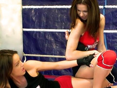 NudeFightClub backstage with Mira Shine vs Sophie Lynx
