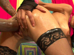 Sensual babe Persia Pele being covered with sperm