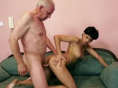 Pretty Coco de Mal has wild sex with an old guy