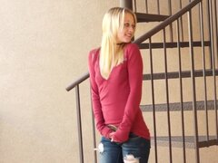 Superb blonde teen in naughty solo