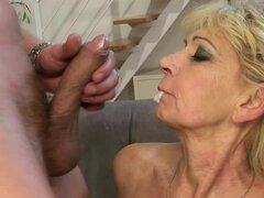 Blonde granny Irene gets her hairy snatch licked and fucked from behind