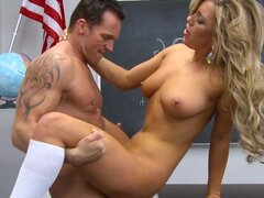 Muscular teacher is punishing his smoking hot blonde teen