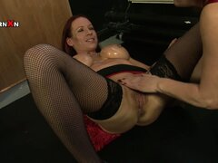 A couple of mature redhead lesbians start with a dildo...