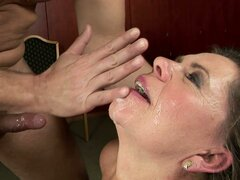 old woman gets facial after hardcore sex