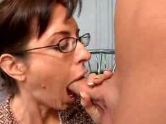 Sexy mature lady gets fucked anal in the kitchen