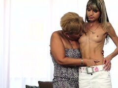 Plumper granny makes advances on a sweet, skinny teen for hot lesbian action