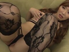 Koda looks amazing in black lacey stockings that lead up to her perfect shaved pussy