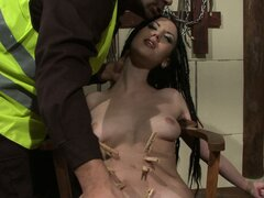 He ties her up and gags her, then tortures her with clothespins