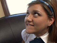 Naughty little Amber Sun is a sexy schoolgirl who wants the dick very badly.