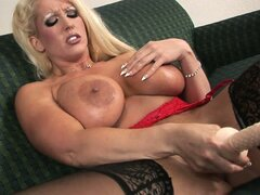 Busty bitch warms herself up with some fisting before taking a huge dildo