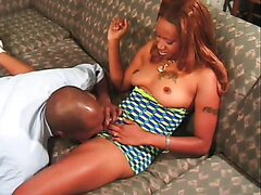 Black sexy redhead babe has fun with her lover over the camera. Hot video