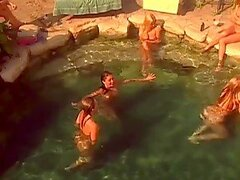 Sexy Playboy models having great swim party in a mansion