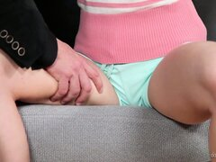 The sexy blonde was hired as a babysitter but will have to perform other important tasks