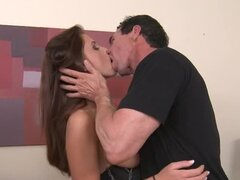 Peter North drills Whitney Westgate's pussy after she's sucked his dick