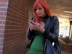 Street treats! Watch this red headed prostitute get nailed for some spare cash