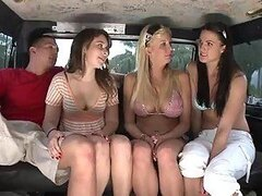 Three Hot Teens and One Guy Have a Hardcore Fuck Fest in a Van