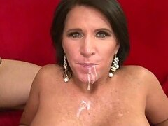 Compilation of videos where chicks get cum on their faces and tits