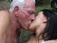 Rita and senior Johyan are fucking outdoors