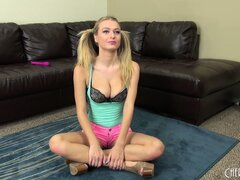 Innocent looking Natalia Starr shows off her petite body and poses