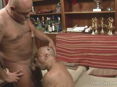 Couch sex with two horny older gay daddies