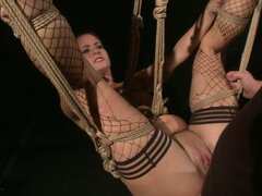After Being Tied Up The Brunette Is Forced To Drink Spunk